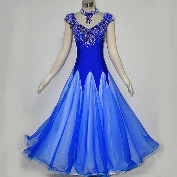 4bd3cb714277 Royal blue Ballroom dance costumes senior stones sleeveless ballroom dance  dress for women ballroom dance competition dresses