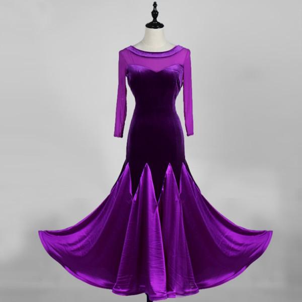 8839dc4d8155 Royal blue black violet velvet Ballroom dance costumes sexy senior Long  sleeves ballroom dance dress for women ballroom dance competition dresses