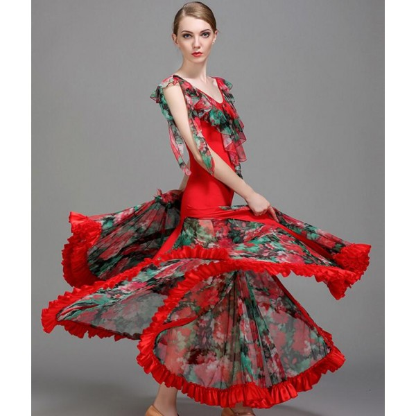 746440733db Royal blue dark green red floral Ballroom dance costumes senior flamenco  sleeveless ballroom dance dress for women ballroom dance competition dresses