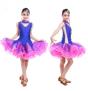 Royal blue fuchsia patchwork beaded rhinestones competition performance professional latin salsa ballroom dance dresses