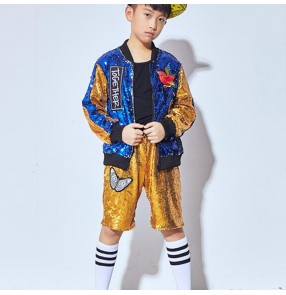 Royal blue gold sequined boy's kids children fashion school competition model show performance singers jazz hip hop dance costumes outfits