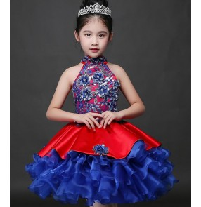Royal blue red patchwork girls kids children stage show model princess performance party host singer cosplay dresses outfits