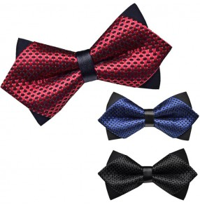 Royal blue wine red black England style men's male competition performance party bridegroom groomsman best man suit neck bow tie