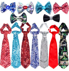 Sequined glitter fashion boy's kids children jazz singers model dancer drummer competition jazz dance bow tie neck tie