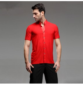 Short Sleeves stand collar Competition Men's Red Waltz Latin Shirts Adults Dance Tops Ballroom Dance Clothing Salsa Cha Cha Rumba Dancing Clothes