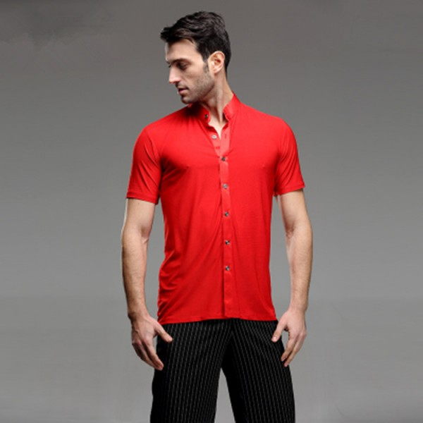 f0c61bf4d02d Short Sleeves stand collar Competition Men's Red Waltz Latin Shirts Adults Dance  Tops Ballroom Dance Clothing Salsa Cha Cha Rumba Dancing Clothes