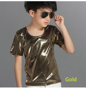 Silver black gold leather sequins paillette short sleeves round neck boys kids children performance hip hop singer jazz drummers playng dance tops t shirts