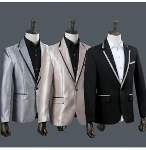 Silver black men male shiny blazer coat costume jacket outwear dance performance groom dress show party Christmas bar DJ DS prom