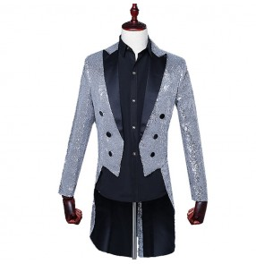 Silver gold royal blue long sleeves sequined long sleeves men's male singers dancers magician jazz cosplay dance tuxedo jackets coats