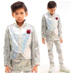 Silver lasers colored glitter fringes  boy's kids children stage model drummer competition performance dancers singers dance jackets and pants
