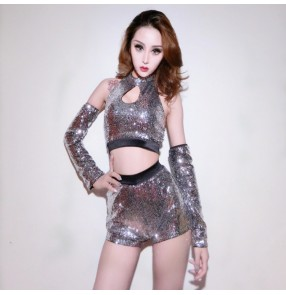 Silver sequined paillette hollow breast fashion sexy women's jazz hip hop night club pole dance singers dance costumes outfits