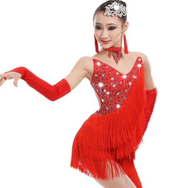 e0684dc75117 Stones Fringe Blue Pink Black Red girls Competition performance Salsa Dress  Child Kids Latin Dresses Girls Latin Dance Costumes