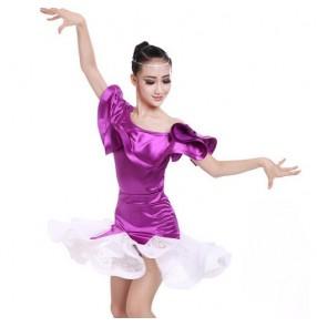 Turquoise black violet satin spandex shiny Competition girls kids children performance latin ballroom dance dresses