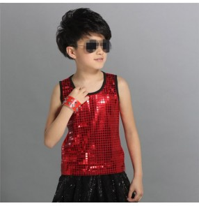 Turquoise blue black red sequins paillette fashion boys kids children toddlers baby stage performance hip hop jazz dance vests tops
