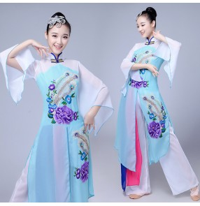 Turquoise violet gradient colored Women Dancing Costume Fashion Women classical traditional fairy Chinese dance costumes folk fan dance costumes