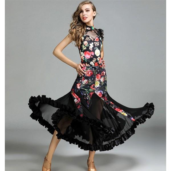 583ef09ba Velvet floral Ballroom dance costumes sexy senior sleeveless ballroom dance  dress for women ballroom dance competition dresses