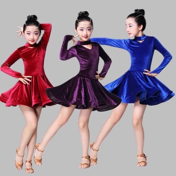 111cf904b028 Velvet royal blue purple wine Child Latin Dance Dresses Kids ...