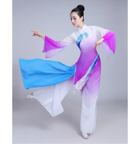 Violet gradient colored traditional Chinese dance costumes women folk dance costume for woman fan clothing performance