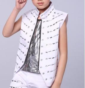 White boy's Singer DS Dance Costume Wear Sequins  Veste Paillettes Jazz Dance Clothes Suit waistcoat