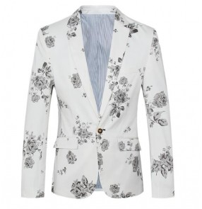 White Fashion men rose printed suit singers host slim fit coat wedding party blazer groom groomsmen Best man suit costume homme
