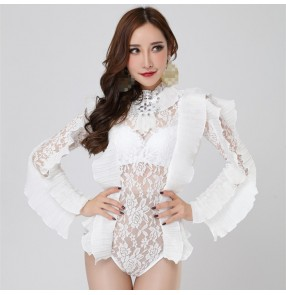 White lace see through sexy Jumpsuit Women's Outfit Photo Shoot Dance Bodysuit Nightclub Costume Female Singer Dance Leotard Wear