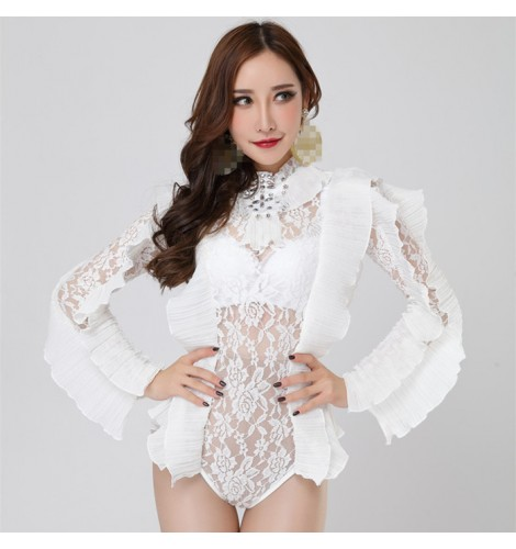 a3bf57470 White lace see through sexy Jumpsuit Women s Outfit Photo Shoot Dance  Bodysuit Nightclub Costume Female Singer Dance Leotard Wear