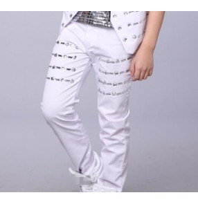 White Reflective rhinestones Jazz singers drummer show performance hiphop hip-hop Modern Dance Pants Trousers for kids boy