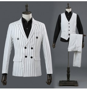 White striped fashion men's male competition stage performance groomsman photos host singers dancers blazers pants costumes outfits sets