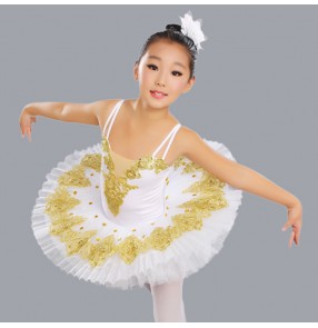 White with gold embroidery pattern girls kids children competition performance cosplay swan lake tutu skirts ballet dance costumes