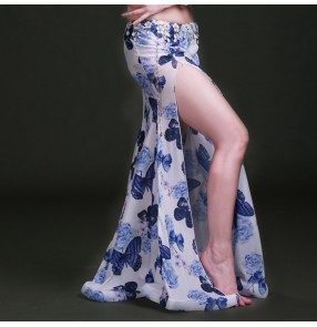 Wholesale  printed blue orange red Chiffon Belly Dance Skirt for Women Cheap Belly Dancing Costume Gypsy Skirts