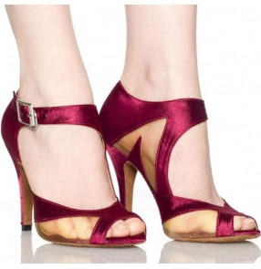 Wine red black satin High Heel Satin Women's Latin Dance Shoes Ballroom Shoe Sandals 7.5cm Heel  Dancing Shoes Salsa