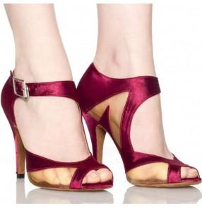 Wine red black satin High Heel Satin Women's Latin Dance Shoes Ballroom Shoe Sandals 7.5cm Heel  Dancing Shoes Salsa