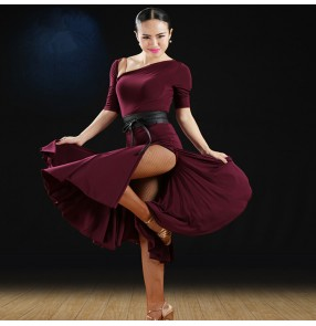Wine red black Vestido de Danza Latina Women chacha Salsa Samba ballroom Competition Costume Lady latin Dance dacne dresses