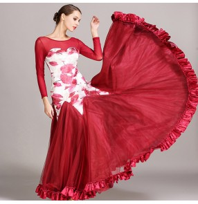 Wine red dark green black long sleeves floral printed competition professional women's girl's flamenco ballroom waltz dancing dresses