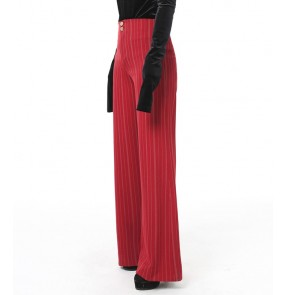 Wine red stripe Women's Latin Pants pantalones de baile latinos Ballroom Dance Pants Ballroom trousers Cha Cha Rumba Samba Pants