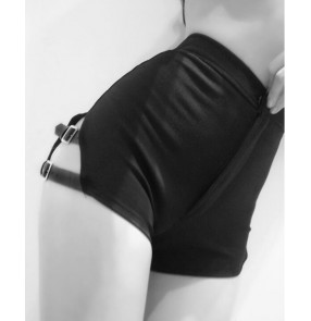 Women Black Metal Bondage hollow side Punk Hot DS Singer jazz performance Hip Pop Summer Hot dance Wear Mini Fashion shrots