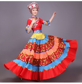 Women Girl Ancient Traditional Chinese Folk Dance cosplay Costumes Miao Dress hmong Miao Clothing Hmong Clothes dresses