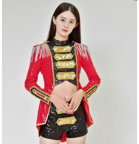 Women red gold sequined Jazz Dance Jacket Wear costume Adult Latin dance costume tuxedo performance wear singers dancers Outfits