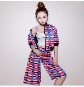 Women's printed hiphop two piece dance top dance shorts sleeves jazz dance costume