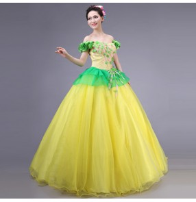 Yellow green Spanish Senorita chorus Dancer Fancy Dress Costume Spanish Flamenco Dance dresses
