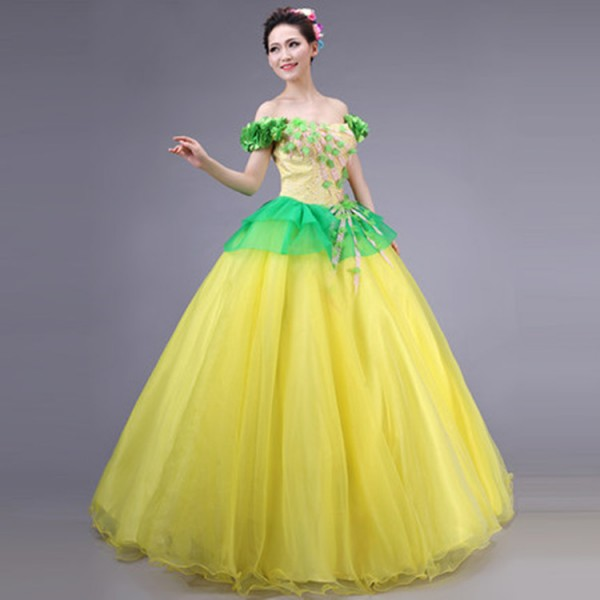 909b03471 Yellow green Spanish Senorita chorus Dancer Fancy Dress Costume Spanish  Flamenco Dance dresses