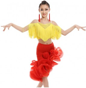 Yellow red Child competition Latin Dance Dresses Kids Ballroom Dance Costume Girl Modern Dance Dress Vestidos Waltz Stage Dance outfits