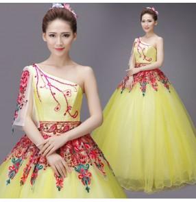 yellow Spanish Senorita Flamenco Dancer Fancy Dress Costume modern Spanish Flamenco Dance dresses
