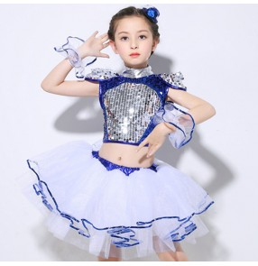 Kids jazz dance dresses for boys girls sequin street dance modern dance show school competition singers princess ballet dancing outfits dresses
