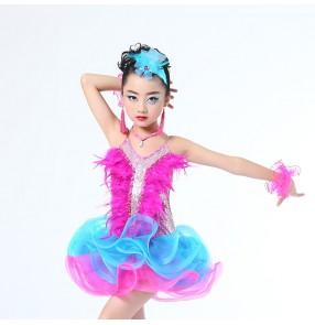 Turquoise hot pink Children Professional feather Latin Dance Dress for Girls Ballroom Dance Competition Dresses kids Modern Waltz tango Cha Cha Costumes