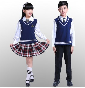 Navy blue plaid skirt knitted girl's boys England style stage student performance school competition singers chorus dancing school uniforms
