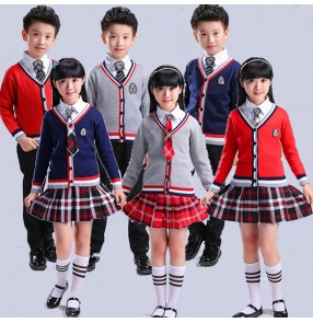 Navy red grey Girl boys kids children Japanese School Uniform student chorus dance Cosplay Costume England style Plaid Skirt Tops sweater Sets
