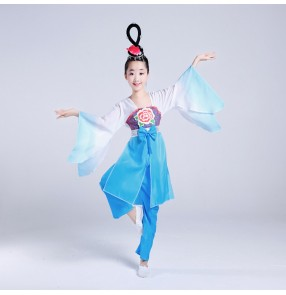 Fuchsia turquoise gradient colored girl's kids children classical traditional fairy Chinese folk fan yangko costumes dresses
