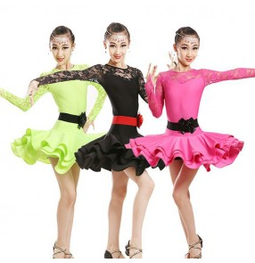 Neon green black pink Children lace Dance Dress For Girls ChaCha Kid Competition Latin Dress Dancing Kids Girl Class Dancewear Kid Latin Costume