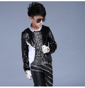 Black sequined paillette long sleeves boy's kids children jazz singers dancers drummer modern dance hiphop performance jackets coats